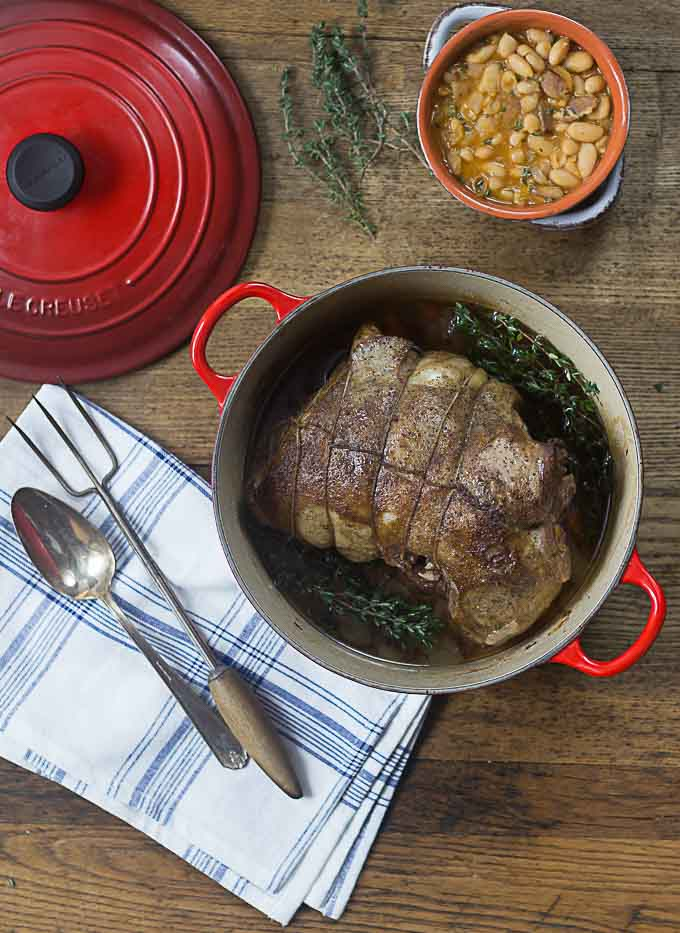 Slow cooked, tender and delicious herbed French style boneless leg of lamb.   ethnicspoon.com