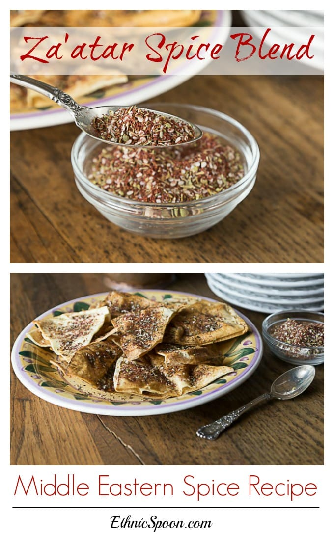 Zatar or Za'atar is an exotic flavored spice blend of sumac, thyme, oregano, sesame seed, salt and nutmeg. This is so simple to make and is fabulous infused in olive oil, meats and dips. Have you been to a Middle Eatern restaurant that serves a spiced dipping oil? It was probably Za'atar. | ethnicspoon.com
