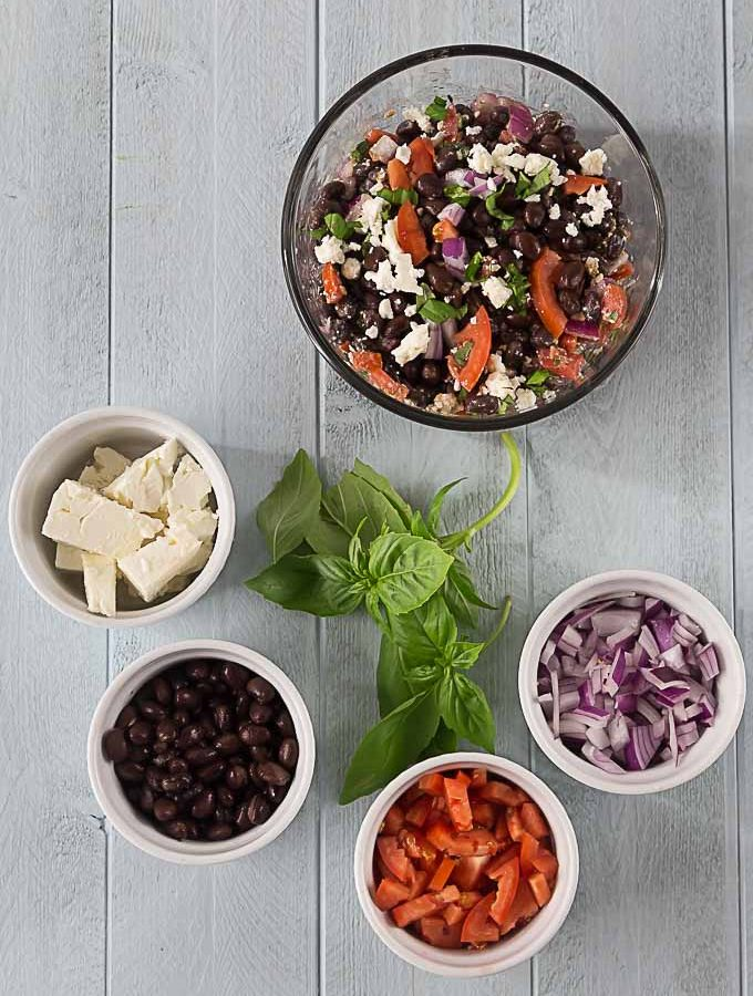 Ingredients in my black bean, feta, basil, red onion and tomato salad. | ethnicspoon.com