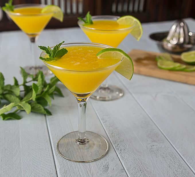 Frozen Mango Rum Cocktail With Mint