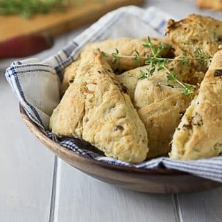 Salty and sweet! melt in your mouth savory scones with carmelized onion, pancetta and figs. You will love these for breakfast, lunch or dinner. | ethnicspoon.com